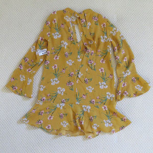 Mustard Yellow Floral Flowy Short Dress Size S NEW